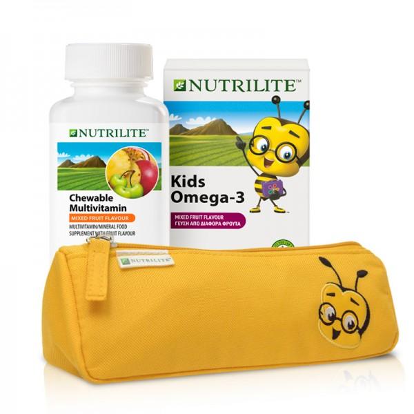 1x NUTRILITE Kids Omega-3 + 1x Vitamin-Mineralstoff-Kautabletten + 1x kostenloses Federmäppchen