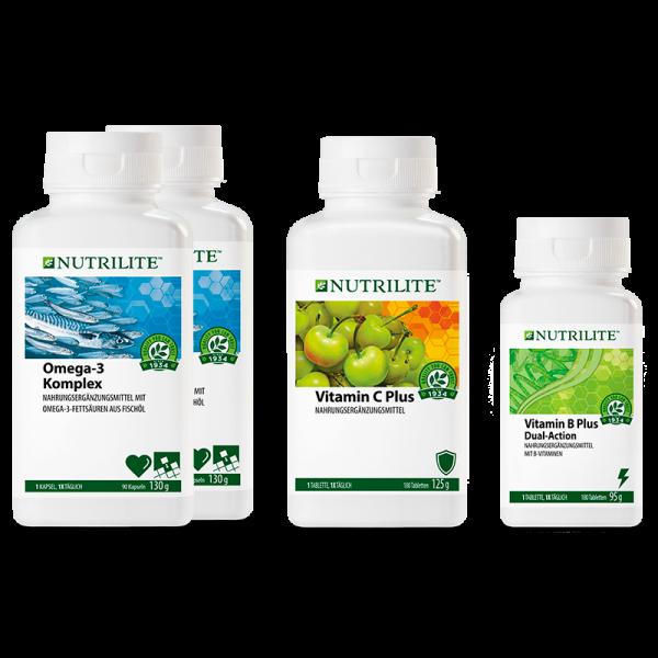 """Set """"Immer im Einsatz"""" NUTRILITE™ - 2 x Omega-3 Komplex, 1 x Vitamin C Plus, 1 x Vitamin B Plus"""