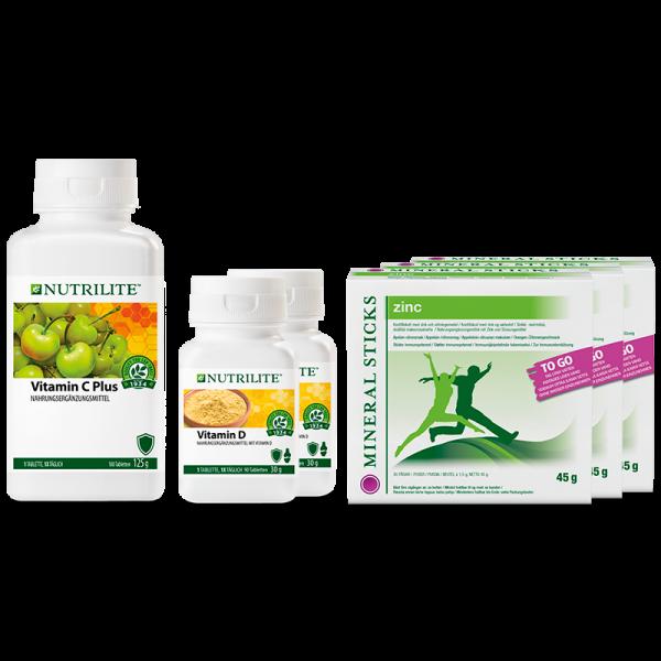"""Set """"Starkes Immunsystem"""" NUTRILITE™ - 2 x Vitamin D, 3 x Mineralsticks Zink, 1 x Vitamin C Plus - A"""