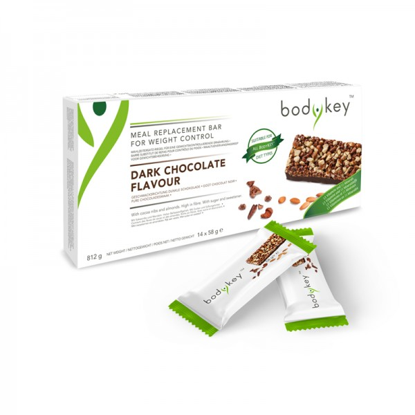 bodykey by NUTRILITE™ Mahlzeitersatz-Riegel – Dunkle Schokoloade - 14 Riegel, je 58g (812g) - Amway