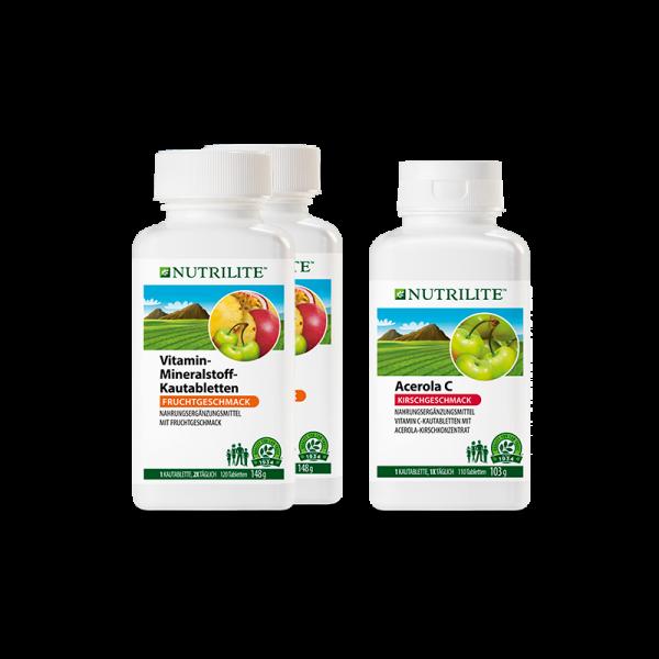 """Set """"Rundum Schutz"""" NUTRILITE™ - 2 x Vitamin-Mineralstoff-Kautabletten, 1 x Acerola C Kautabletten -"""